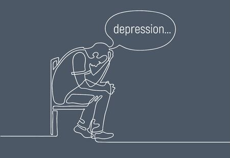 Depressed young man sitting on chair and holding his head. Continuous line drawing. Sad man has lost meaning of life. Illustration on gloomy gray background