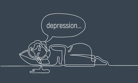Unhappy girl is lying on pillow and crying. Depression concept. Continuous line drawing. Illustration on gloomy gray background