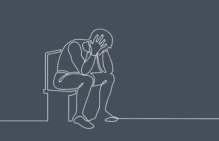 Sad, unhappy man sitting and holding his head. Depression concept. Continuous line drawing. Illustration on gloomy gray background