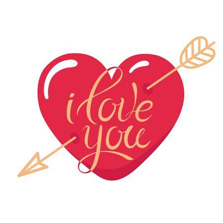 Tattoo I Love You. Heart pierced by gold arrow