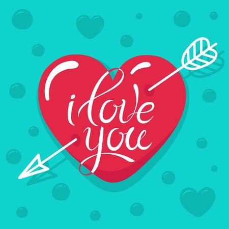 Valentines Day card. Arrow pierced glossy heart