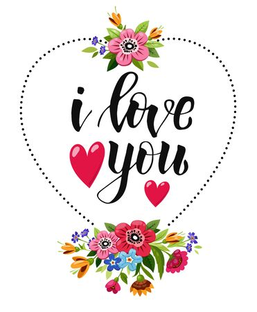 Elegant Happy Valentines Day card with lettering