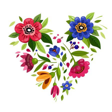 Beautiful Flower heart. Heart from flowers. T-shirt design. Illustration for Valentines Day card. Symbol of love, romantic, passion. Ilustrace