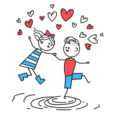 Lovers boy and girl jump through puddles. Valentines Day illustration. Valentines Day card. Couple in love. Simple characters