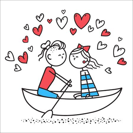 Lovers boy and girl sit on boat and kiss. Boy and girl swim on river in boat. Valentines Day illustration. Valentines Day card. Couple in love. Simple characters