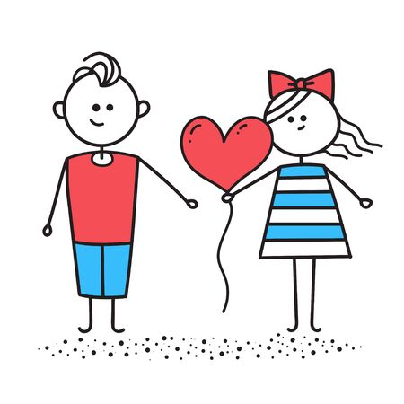 Girl gives boy red heart shaped balloon Ilustrace