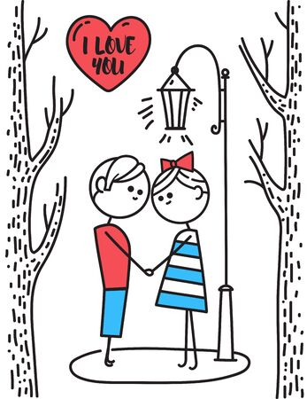 Valentines Day card. Lovers boy and girl stand in park under lantern. Boy and girl holding hands. Illusration for Valentines Day. Couple in love. Simple characters