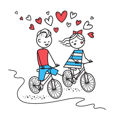 Happy boy and girl ride bike and chat. Fun trip. Happy guy and girl. Valentines Day illustration for Valentines Day card or t-shirt. Couple in love. Simple characters.