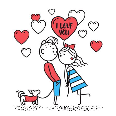 Kiss. Girl hold ball and kisses boy. Guy and girl kiss on walk. Boy is walking small dog. Valentines Day illustration. Valentines Day card. Couple in love. Simple characters