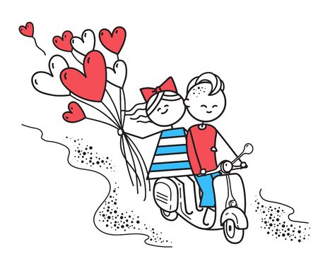 Lovers boy and girl ride on gas moped scooter with heart shaped. Trip. Happy guy and girl. Valentines Day illustration for Valentines Day card or t-shirt. Couple in love. Simple characters.
