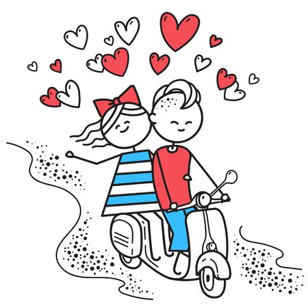 Lovers boy and girl ride on gas moped scooter. Fun trip. Happy guy and girl. Valentines Day illustration for Valentines Day card or t-shirt. Couple in love. Simple characters. Ilustrace
