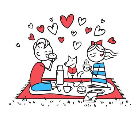 Lovers girl, guy and little dog are on picnic. People are sitting on lawn. Happy guy and girl eat sandwich and drink tea in nature. Valentines Day illustration. Couple in love. Simple characters
