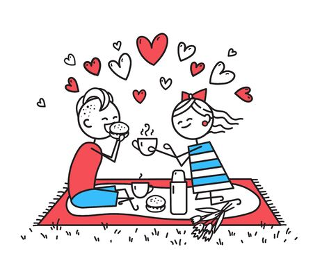 Lovers girl and guy are on picnic. People are sitting on lawn. Happy guy and girl eat sandwich and drink tea in nature. Girl carefully treats guy tea. Valentines Day illustration. Simple characters Zdjęcie Seryjne - 140286693