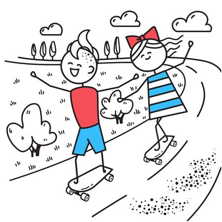 Happy guy and girl skateboarding. Fun trip. Valentines Day illustration for Valentines Day card or t-shirt. Couple in love. Simple characters. Ilustracja