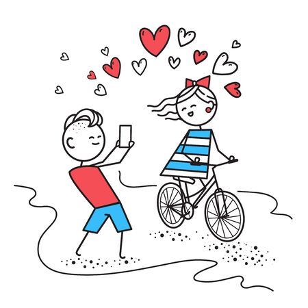 Girl rides bicycle and smiles, while boy photographs girl. Valentines Day illustration for Valentines Day card or t-shirt. Happy couple in love. Simple characters.