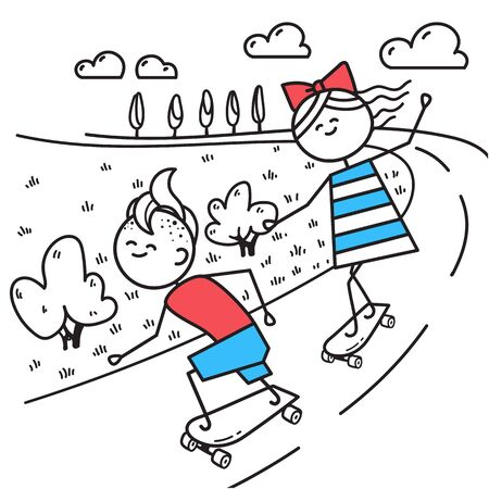 Happy guy and girl skateboarding. Fun trip. Valentines Day illustration for Valentines Day card or t-shirt. Couple in love. Simple characters. Ilustrace