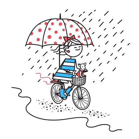 Happy girl with dog rides bicycle under umbrella.