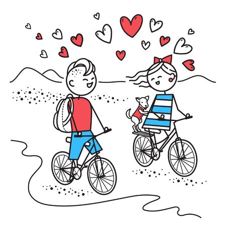 Lovers guy and girl with dog travel on bicycles.