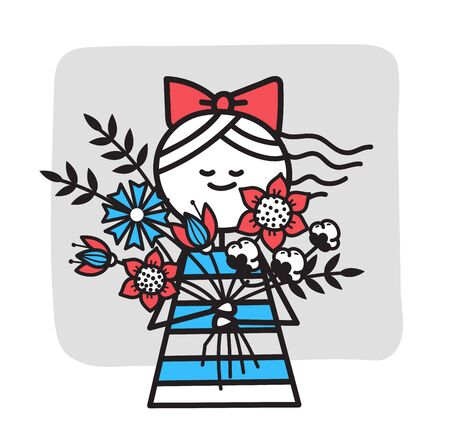 Girl with bouquet of flowers. Mothers day 일러스트