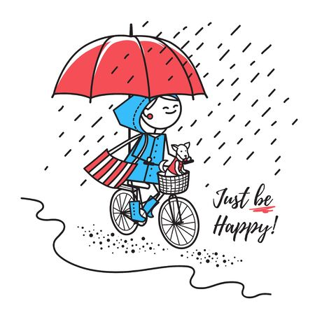 Greeting card Just be happy. Happy girl in raincoat with her dog in basket rides bicycle under umbrella . Smiling girl rides bicycle in rain by road. Fun trip.Illustration for t-shirt or greeting card