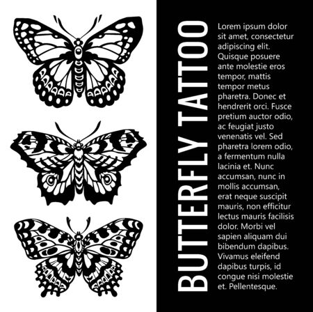 Beautiful Butterfly Tattoos. Collection tattoos 일러스트