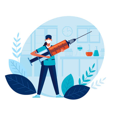 Vaccine doctor holds large syringe with vaccine. Health concept. Vaccine creation. Doctor prevents epidemic. Vaccination protects public. Laboratory research. Flat design. Infection prevention concept 일러스트