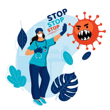 Doctor in face mask stops pandemic. Medicine stops epidemic. Concept medicine protects people from flu. Stop coronavirus. Health concept. Natural immunity. Natural defense. Virus control 일러스트