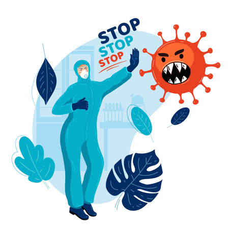 Virologist in medical protective suit stops spread of virus. Doctor stops pandemic. Medicine stops epidemic. Health concept. Stop coronavirus. Natural immunity. Natural defense. Virus control 일러스트