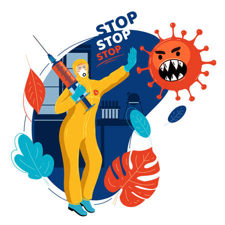 Vaccine doctor in medical protective suit with vaccine stops virus. Doctor stops pandemic. Medicine stops epidemic. Stop coronavirus. Natural immunity. Natural defense. Virus control