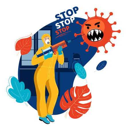 Medical officer threatens virus with syringe with vaccine. Stop pandemic. Scientist armed with syringe with vaccine. Medicine stops epidemic. Medical officer with vaccine stops terrible virus.