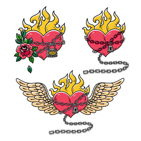 Collection of hearts in chains of love. Flaming Heart Tattoo. Passionate love. Red burning heart with wings. Old school styled. Tattoo flaming heart bound by chains of love. Burning heart with rose. Illustration