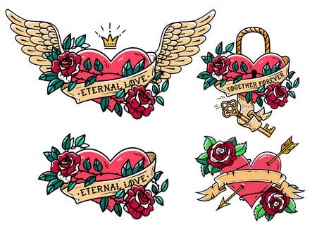 Set of heart tattoos with roses and ribbons. Old school. Tattoo heart under lock and key. Red heart entwined in climbing rose tattoo. Flying heart entwined in climbing rose. Illustration
