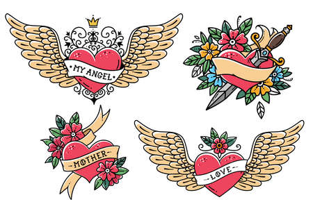 Set of Heart Tattoos in Old school style. Heart with ribbon, flowers and word mother. Tattoo flying heart with crown and phrase MY ANGEL. Heart with dagger. Old school slyle.Retro tattoo. Illustration