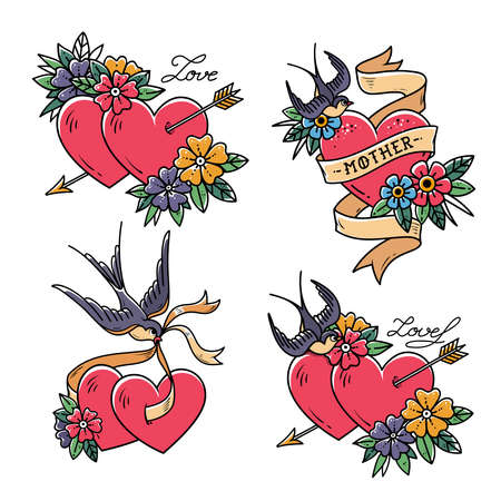 Set of Heart Tattoos with birds.Old school style. Two hearts pierced by arrow. Tattoo hearts with flower and Swallow. Isolated tattoo red heart with ribbon. Love. Valentines Day illustration.