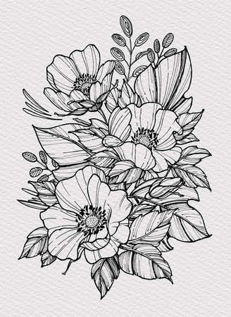 Tattoo bouquet of poppies with foliage. Floral illustration for tattoo, t-shirt design. Tattoo for forearm, thigh, back. Illustration on watercolor paper with texture