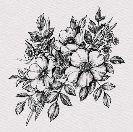 Tattoo branch of flowers. Branch of blooming dog rose. Floral illustration for tattoo, t-shirt design. Tattoo for forearm, thigh, back. Illustration on watercolor paper with texture