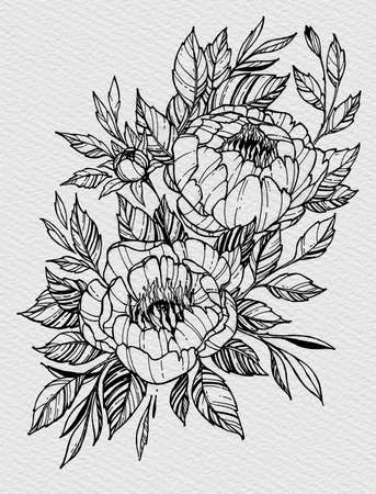 Tattoo branch of flowers. Branch of blooming peony. Floral illustration for tattoo, t-shirt design. Tattoo for forearm, thigh, back. 스톡 콘텐츠 - 151381990
