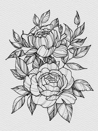Tattoo branch of flowers. Branch of blooming rose. Floral illustration for tattoo, t-shirt design. Tattoo for thigh, back, forearm. Illustration on watercolor paper with texture Stock Photo