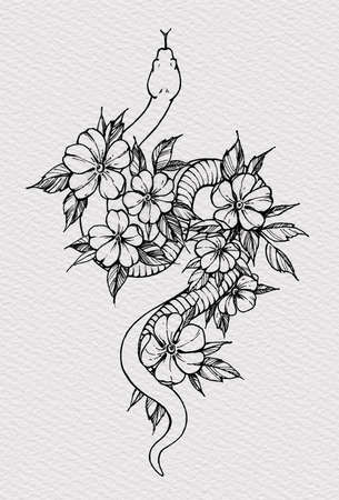 Tattoo snake decorated flowers. Snake symbol of wisdom. T-shirt design. Illustration on watercolor paper with texture 版權商用圖片 - 151382053