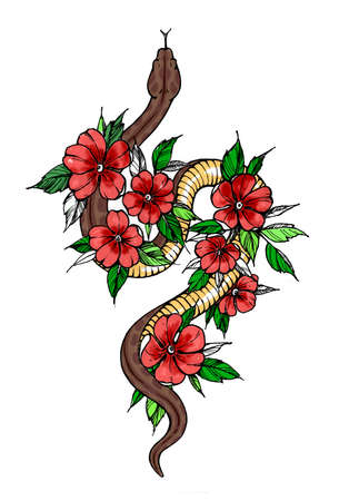 Tattoo snake decorated flowers. Snake symbol of wisdom. T-shirt design