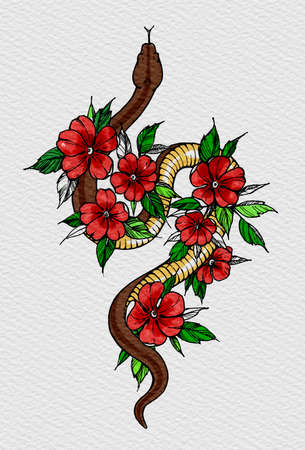 Tattoo snake decorated flowers. Snake symbol of wisdom. T-shirt design. Illustration on watercolor paper with texture