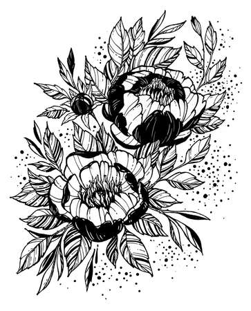 Tattoo branch of flowers. Branch of blooming peony. Floral illustration for tattoo, t-shirt design. Tattoo for forearm, thigh, back.