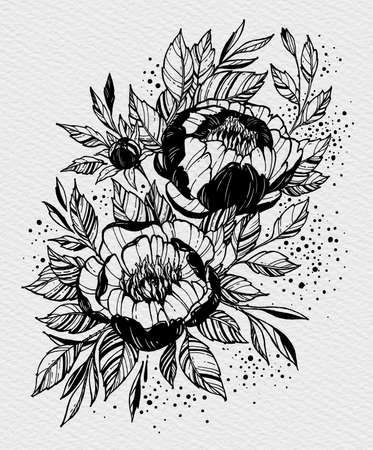 Tattoo branch of flowers. Branch of blooming peony. Floral illustration for tattoo, t-shirt design. Tattoo for forearm, thigh, back. Illustration on watercolor paper with texture