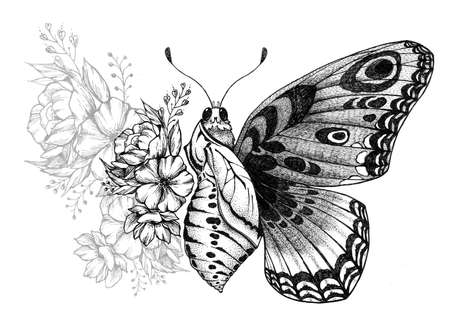 Butterfly tattoo design with flowers. Butterfly birth. 版權商用圖片 - 151430061