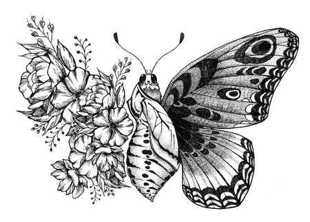 Butterfly tattoo design with flowers. Butterfly birth.