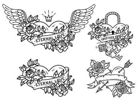 Set of heart tattoos with roses and ribbons.