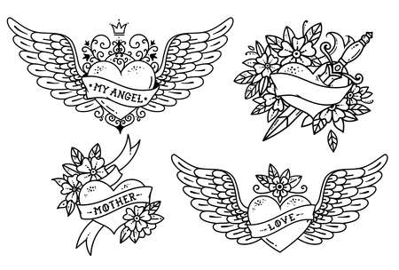 Set of Heart Tattoos in Old school style