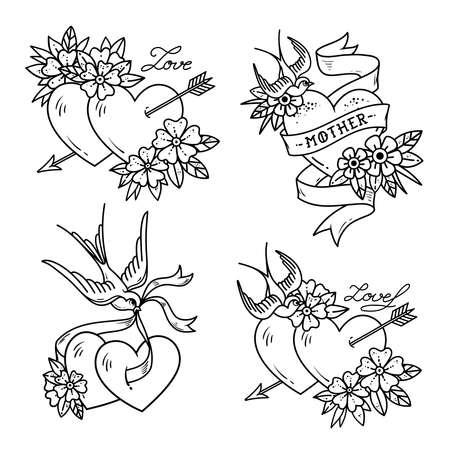 Set of Heart Tattoos with birds.Old school style Illustration