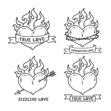 Set of Flaming Heart Tattoos with ribbon. Illustration