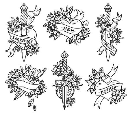 Collection of Heart Tattoos in Old school style Illustration